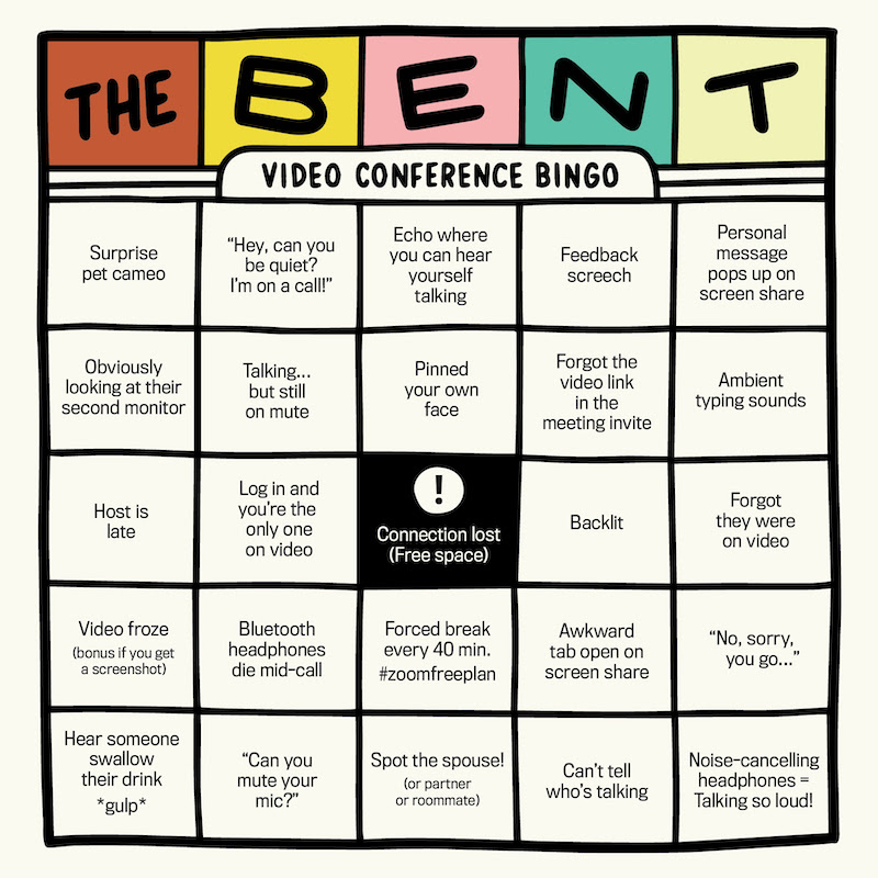 The Bent Video Conference Bingo board