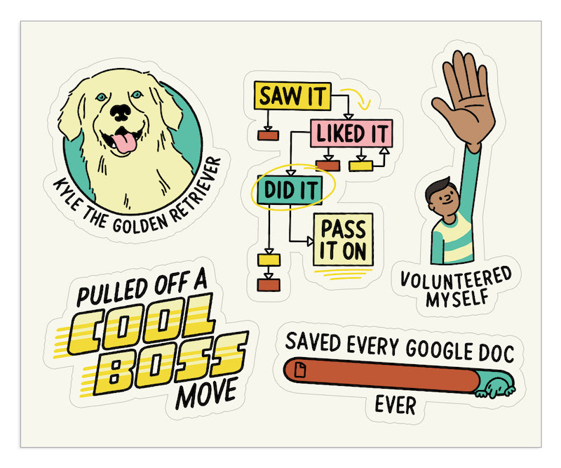 "Digital sticker illustrations of a golden retriever, a status bar, a flow chart, a man raising his hand, and text that says ""pulled off a cool boss move."""