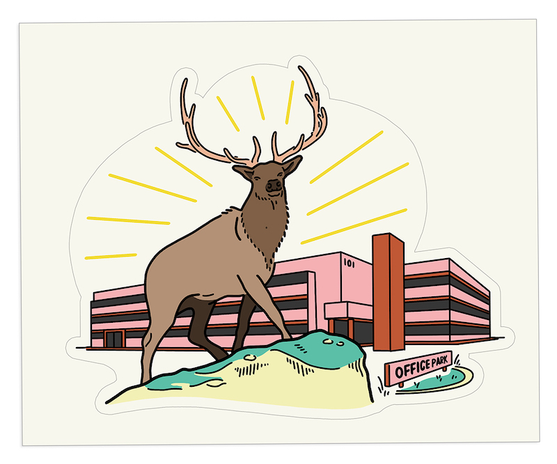 Illustration of a elk buck standing majestically in front of a pink office park
