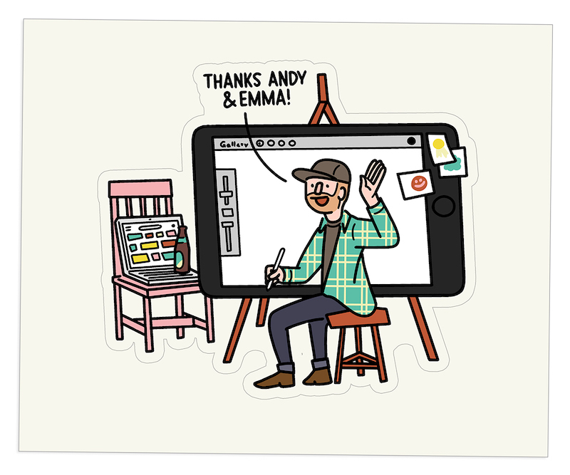 Cartoon version of a Norman Rockwell painting of a man drawing in front of a tablet and computer